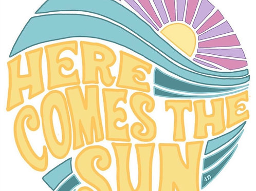 Here Comes The Sun Sticker by Lady Doodles Co.