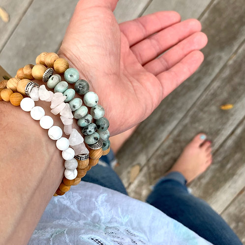 Beaded Stone and Wood Aromatherapy Bracelet by Lovely Dark Woods
