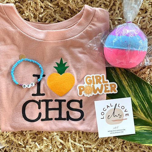 Easter Box For Her (Ages 3-4), includes a bath bomb, beaded bracelet, girl power sticker, and I LOVE CHS T-Shirt