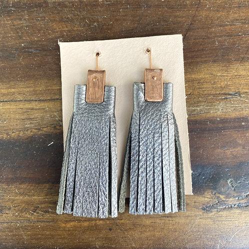 Leather and Copper Plain Fringe Earrings by Penelope Design Studio