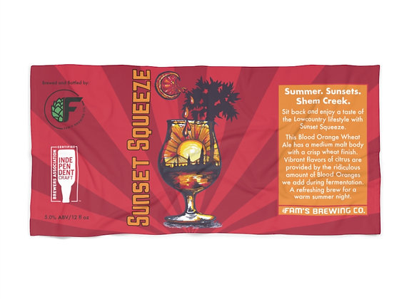 Sunset Squeeze Beer Label Beach Towel