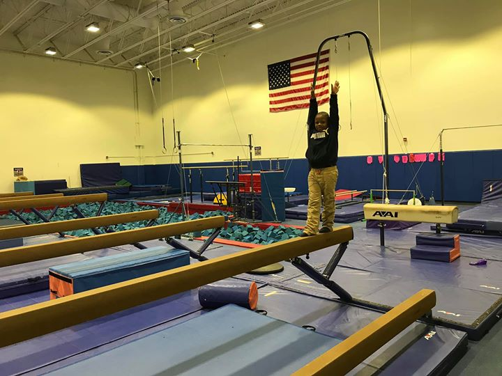 The balance beam, he did it!