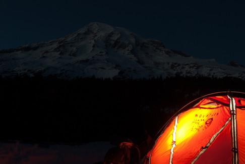 Sleeping below Mt. Rainier