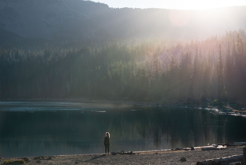 Sunrise from a lake outside Sisters, OR