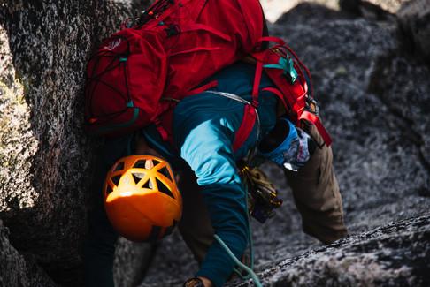 Climber on West Ridge of Prusik Peak