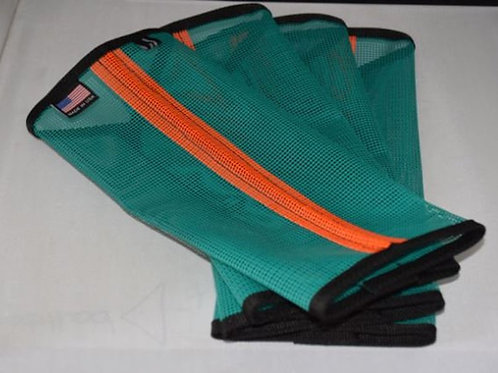 Fly Leggings, Fetlock Protection, Sassari Duo Teal with Orange stripe