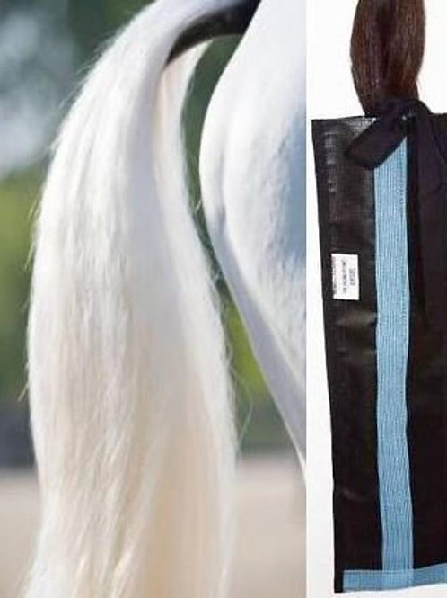 Light Blue Tail Bags, Horse Tail Bag Soft Light Blue on Black