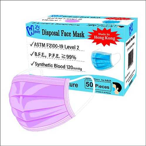 香港製造 - 成人手術口罩 -ASTM 醫用二級 (薰衣草)