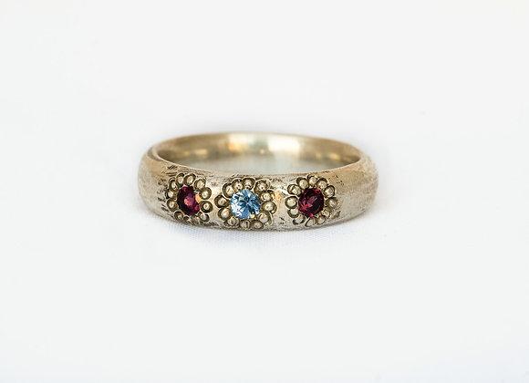 Sapphire and Garnet Ring