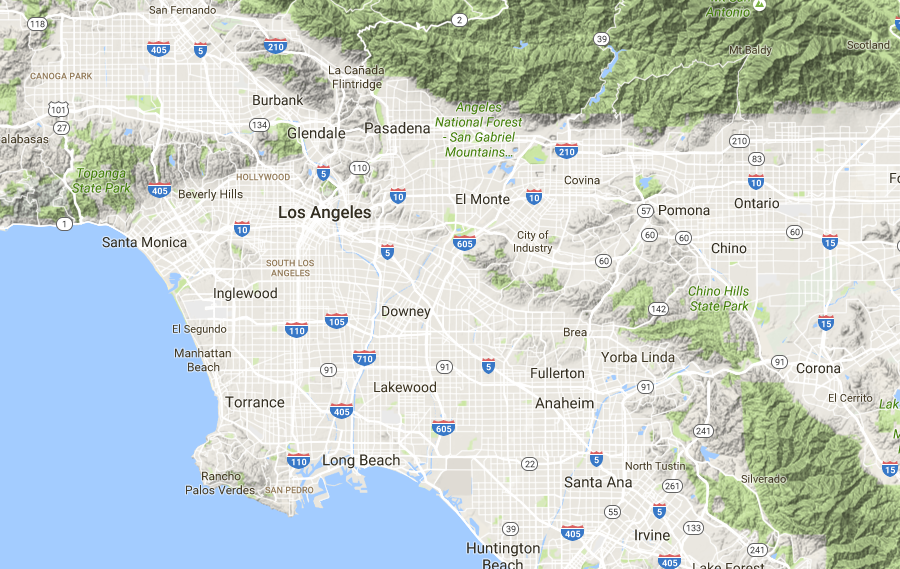 Map of JRealty service areas including most of Los Angeles and Orange counties.