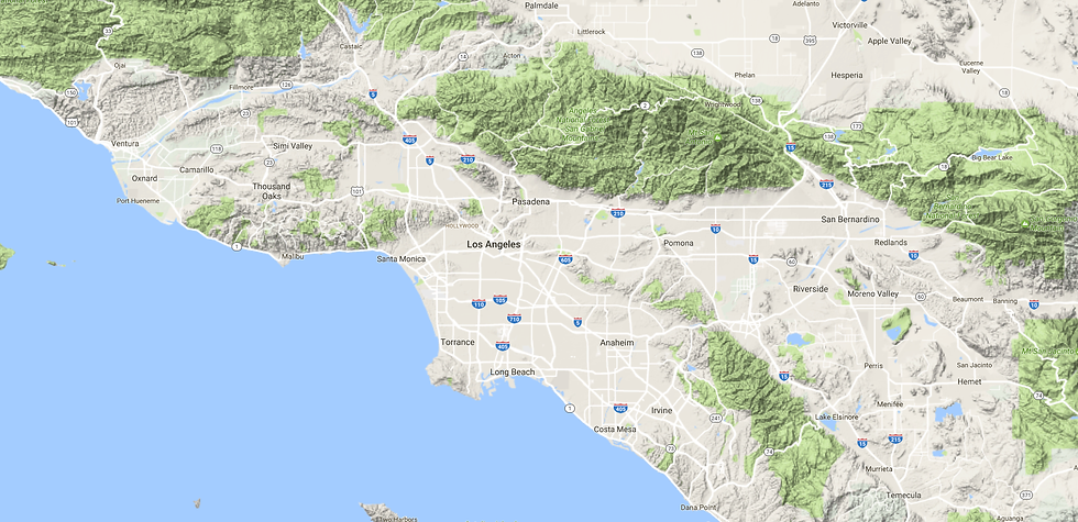 Map of Los Angeles and Orange Counties