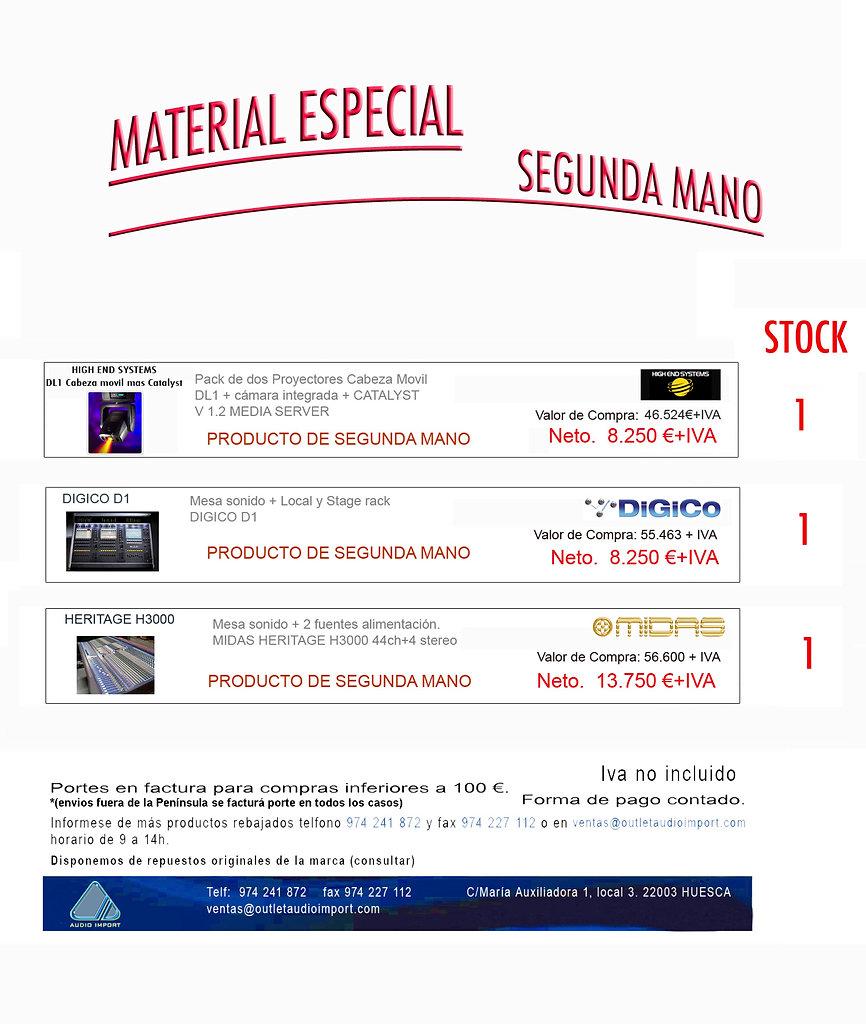 material especial segunda mano audio import sl