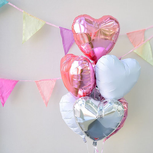 Heart to Heart Bouquet-PINK X WHITE X SILVER
