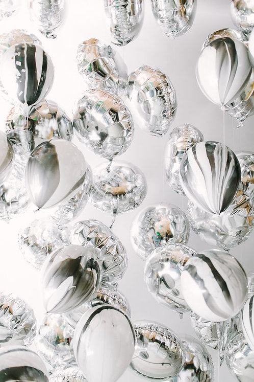 銀色圓球及雲石紋套餐 Silver Foil & Marbel Balloons Package