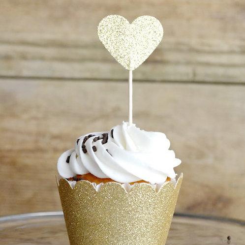6支裝 金粉心型 蛋糕插牌裝飾 Glitter Heart Picks