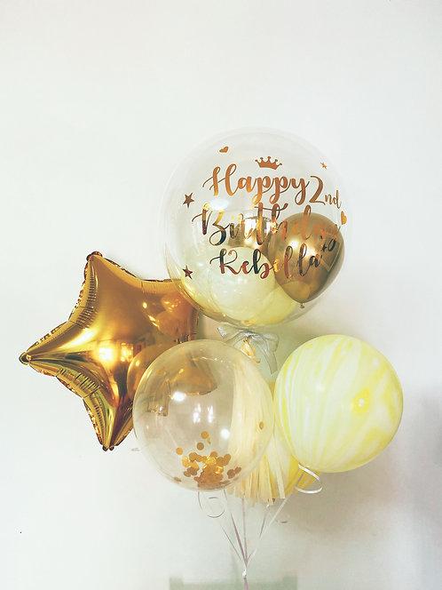 Crystal Balloon Bouquet 1- Golden Yellow