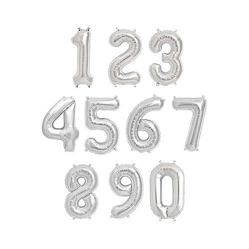 """30"""" 數字氣球 Silver Number Balloons"""