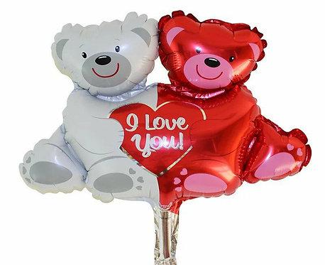 紅白抱抱熊 鋁氫氣球 Candy Balloon