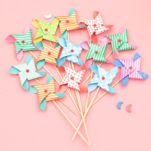 6支裝 紙杯蛋糕 風車裝飾 Cupcake Decorations