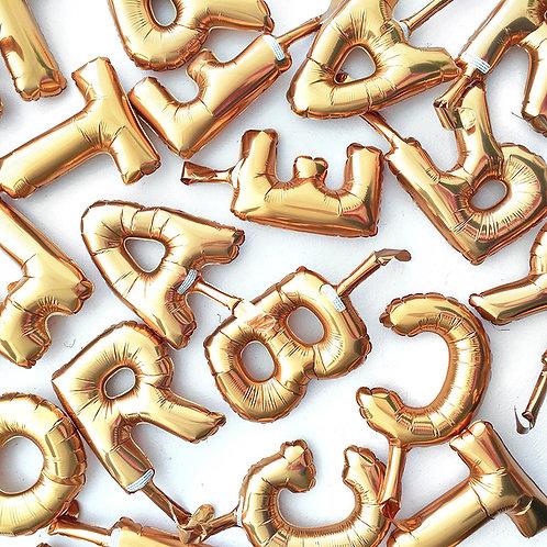 """16"""" 小型金銀字母氣球 (自由組合) Silver Gold Letter Balloons"""