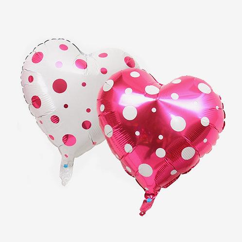 """18"""" 波點心形鋁氫氣球 Dotted Heart Balloon"""