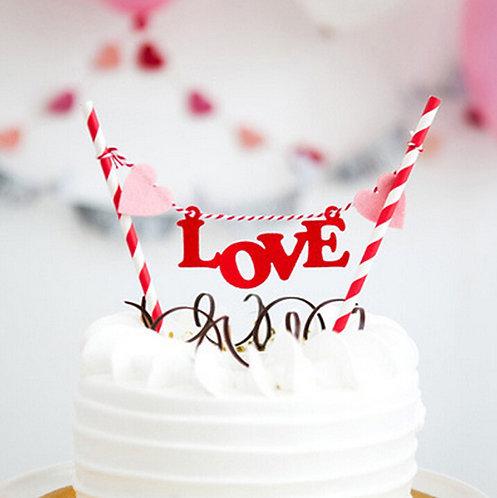 LOVE 蛋糕插牌裝飾 Cake Banners