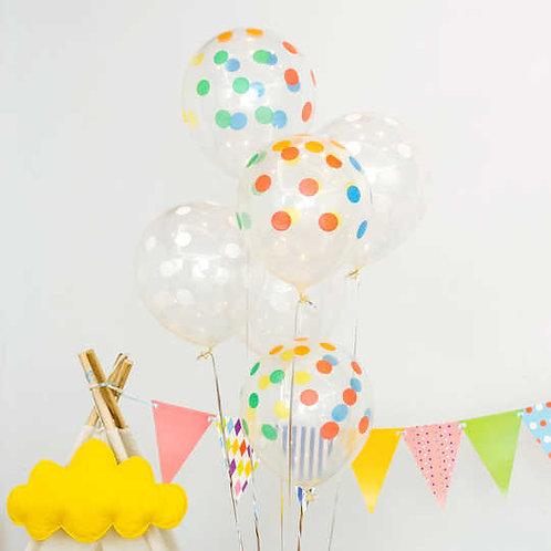 """12"""" 彩色透明波點氣球  Clear Polka Dots Balloon"""