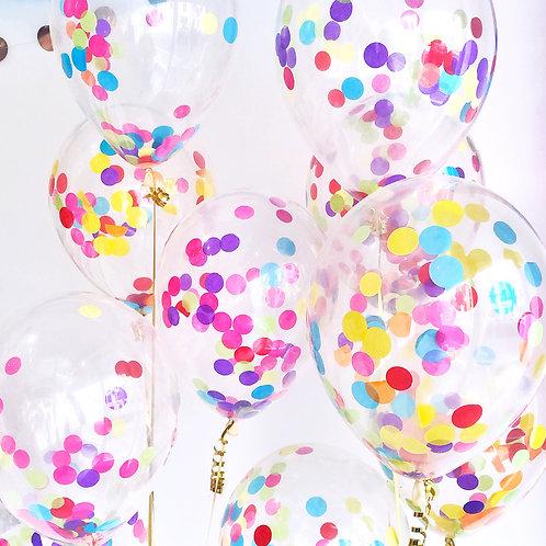 "12""彩色紙屑透明氣球 Multicolor Confetti Balloon"