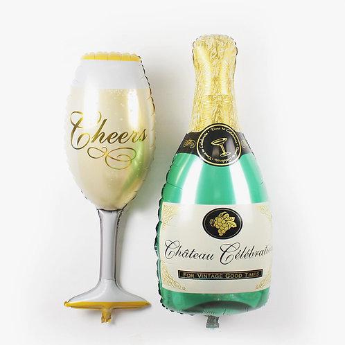 香檳酒瓶酒杯 鋁氫氣球 Wine Styling Balloon