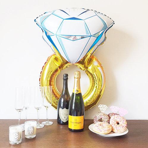 鑽石介指 鋁氫氣球 Diamond Ring Balloon