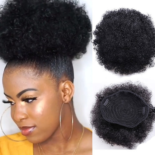 8 inch Short Afro Puff Synthetic Hair Bun Chignon