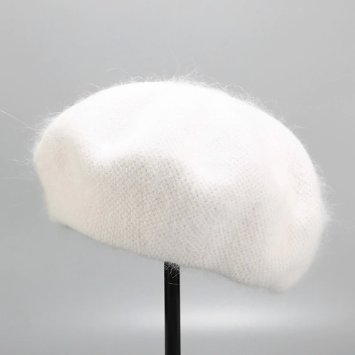 Hat Winter Knitted Women Berets Hat Solid Color French Hat Berets Caps