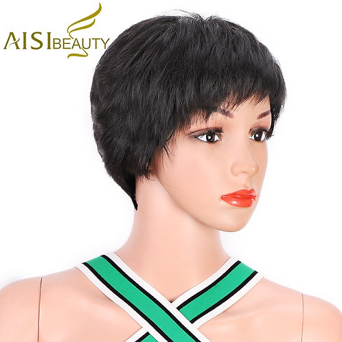 Short Natural Synthetic Red Pixie Black Wigs for Women