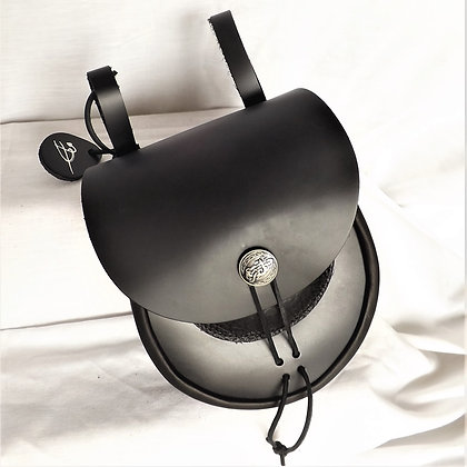 Hanging Leather Pouch with Hidden Flask