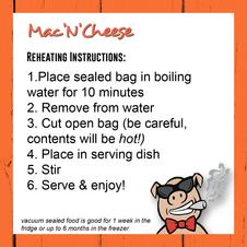 Mac'N'Cheese Reheating Instructions
