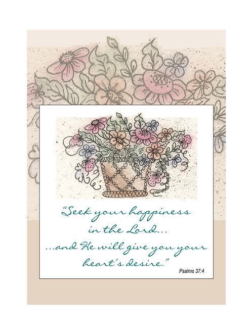 Seek Happiness Floral Printable Note Cards