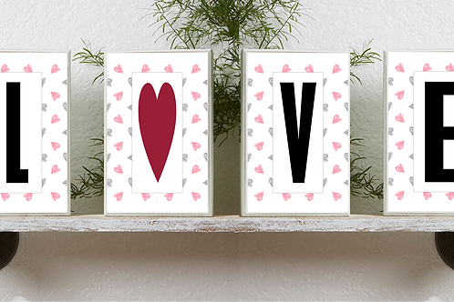 LOVE Heart Valentine 5x7 Printable Wall / Framed Art