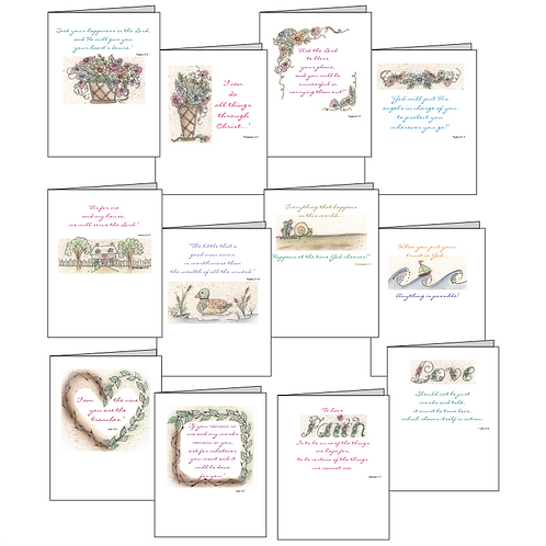 Christian Inspirational Printable Note Cards (12 Designs)