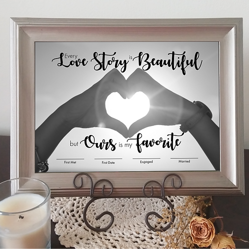 """""""Our Love Story"""" Printable Important Dates Keepsake"""