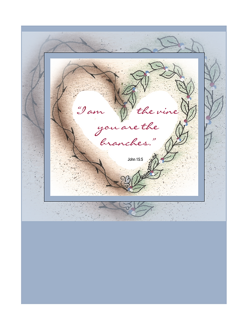 Heart Vine & Branches Printable Note Cards