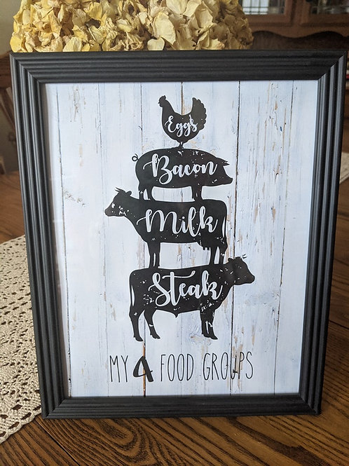Farm Animals My 4 Food Groups Printable Farmhouse Sign