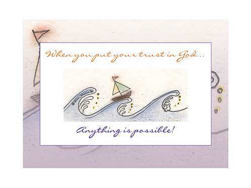 Boat - Trust in God - Printable Note Cards
