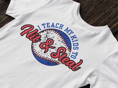 Baseball dad t-shirt design - hit and steal