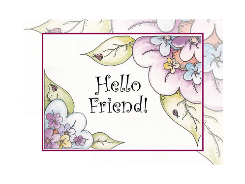 Hello Friend Ladybug Floral Printable Note Cards