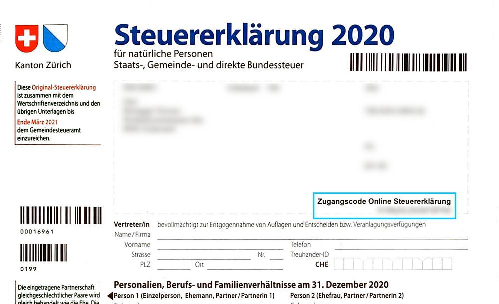 Den Zugangscode findest Du auf dem Deckblatt Deiner Steuererklärung.