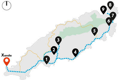 Tobago Atlantic Tour Map from Pigeon Point to Charlotteville