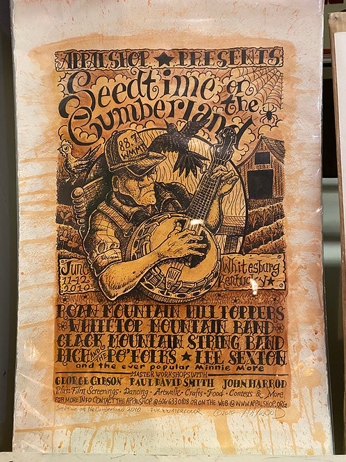 Original Hand Drawn 2010 Seedtime on the Cumberland poster.