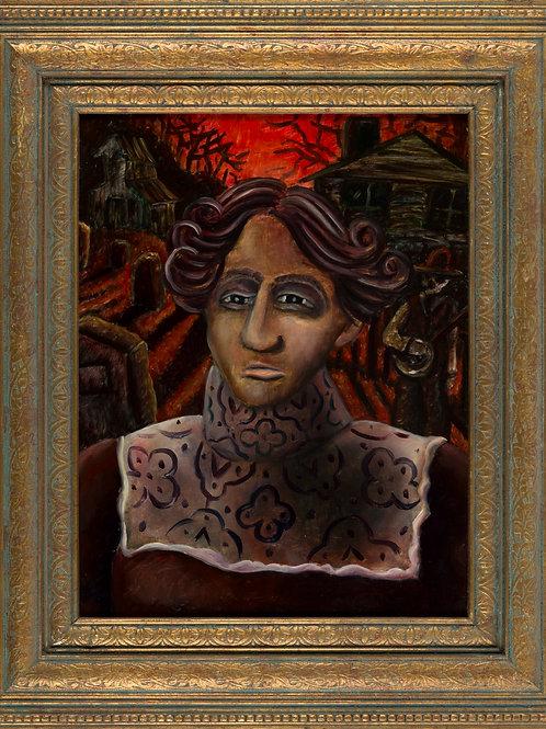 "Harvest of Sorrow (framed oil on board 25""x21"")"