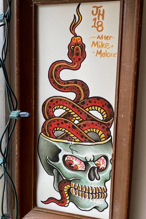 "Modified Mike Malone skull and snake. (ink and watercolor) 17""x 8"""