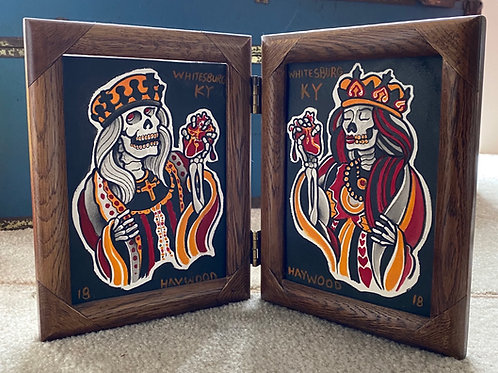 King and Queen of Hearts (ink and watercolor on arches) double 5x7 freestanding